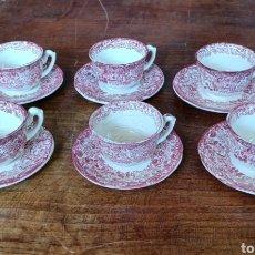 Antigüedades: LOTE DE 6 TAZAS DE CAFE CON PLATO PICKMAN 202 ROSA LA CARTUJA. Lote 285553743