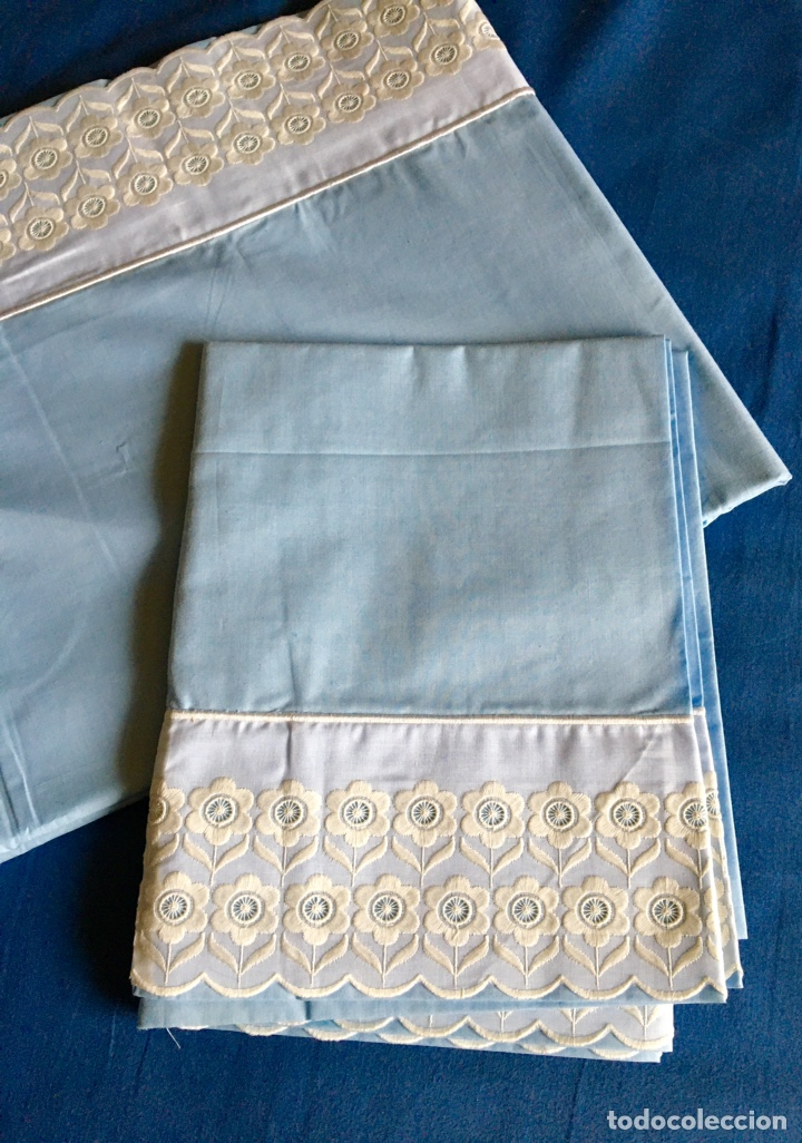 Antigüedades: Juego de sabanas bordadas con fundas de almohada - Foto 2 - 285612423