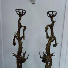 Antigüedades: PAREJA DE DRAGONES CHINOS. Lote 285614648