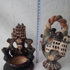 Antigüedades: PRECIOSO LOTE DE BENDITERA Y BOTIGO DE PORCELANA ANTIGUOS. Lote 285631883