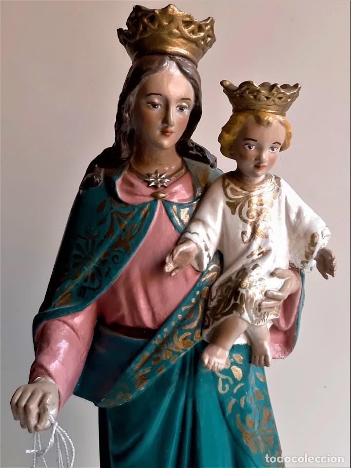 ANTIGUA ESCULTURA DE MARIA AUXILIADORA. LA VIRGEN CON EL NIÑO JESUS.AÑOS 40/50.VER FOTOS.43CM (Antigüedades - Religiosas - Ornamentos Antiguos)