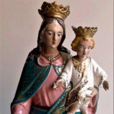 Antigüedades: ANTIGUA ESCULTURA DE MARIA AUXILIADORA. LA VIRGEN CON EL NIÑO JESUS.AÑOS 40/50.VER FOTOS.43CM. Lote 285737223