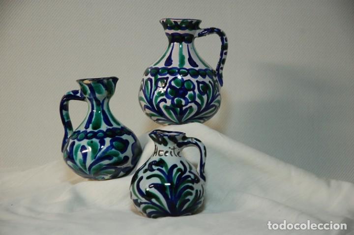 TRES PIEZAS DE CERAMICA GRANADINA DE FAJALAUZA (Antigüedades - Porcelanas y Cerámicas - Fajalauza)