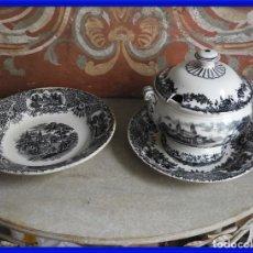 Antigüedades: PAREJA DE PLATOS Y SOPERA DE CERAMICA PICKMAN. Lote 285844933