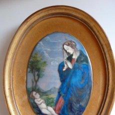 Oggetti Antichi: CHAPA ESMALTADA PINTADA A MANO. VIRGEN CON NIÑO. Lote 286014313