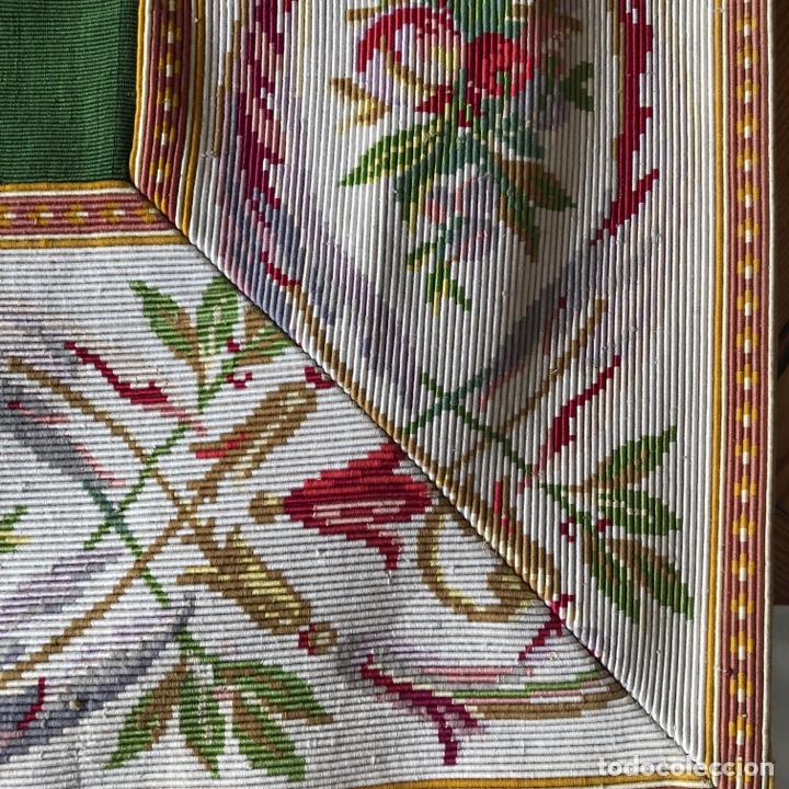 Antigüedades: Excepcional pareja de cortinas en otoman con agreman bordado de canutillo y flecos - Foto 3 - 286064648