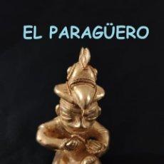 Antigüedades: FIGURA DE ORO TUMBAGA PESO 113 GRAMOS ES UN HOMBRE AVE ATANDO UNA CUERDA PRECOLOMBINO QUIMBAYA. Lote 286143583