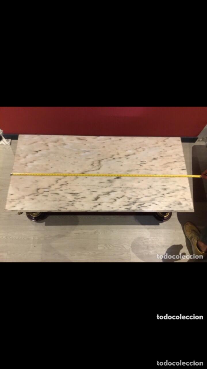 Antigüedades: Antigua mesa de centro en bronce mármol y madera .preciosa.ver fotos - Foto 4 - 286156088