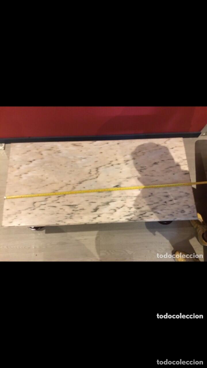Antigüedades: Antigua mesa de centro en bronce mármol y madera .preciosa.ver fotos - Foto 5 - 286156088
