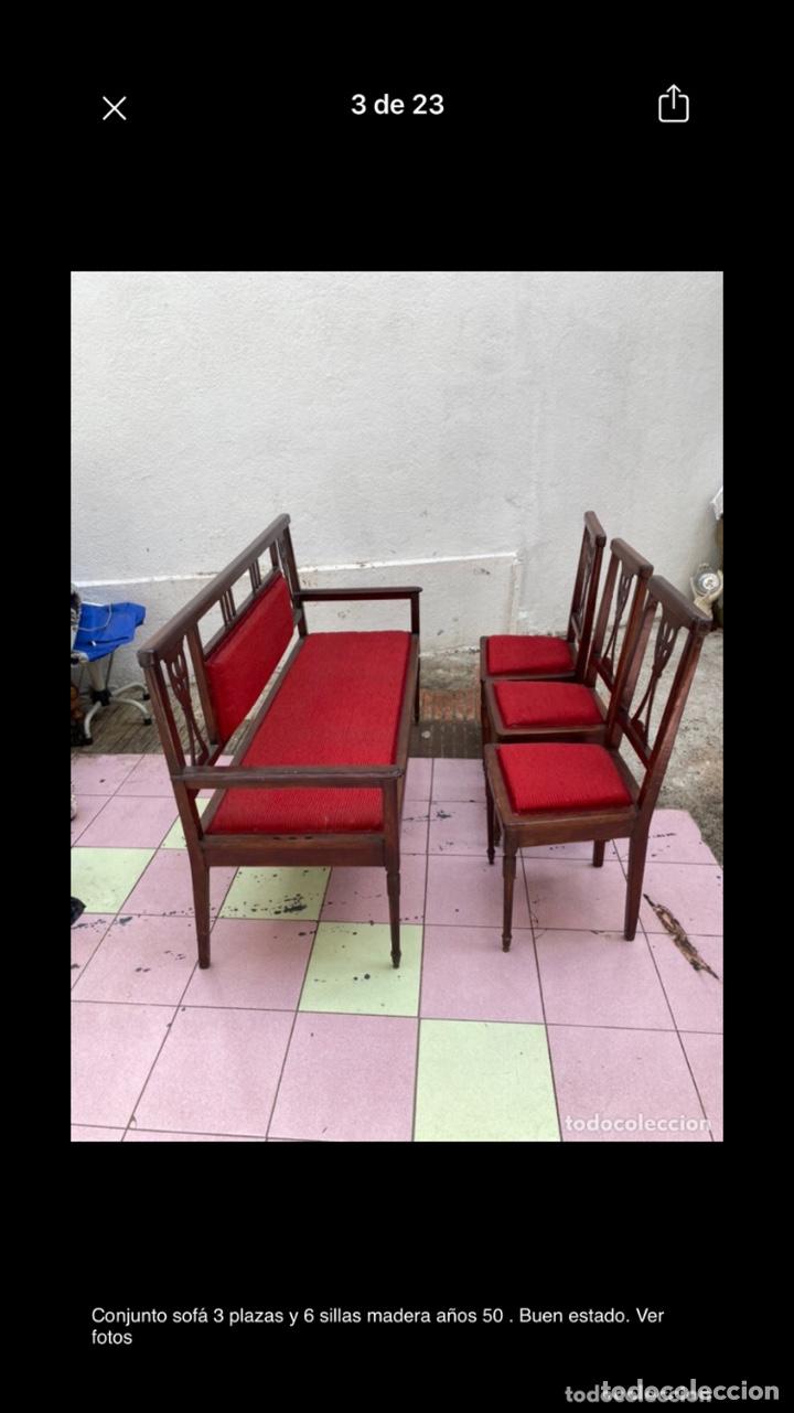 Antigüedades: Conjunto sofá 3 plazas y 6 sillas madera años 50 . Buen estado. Ver fotos - Foto 3 - 286156838