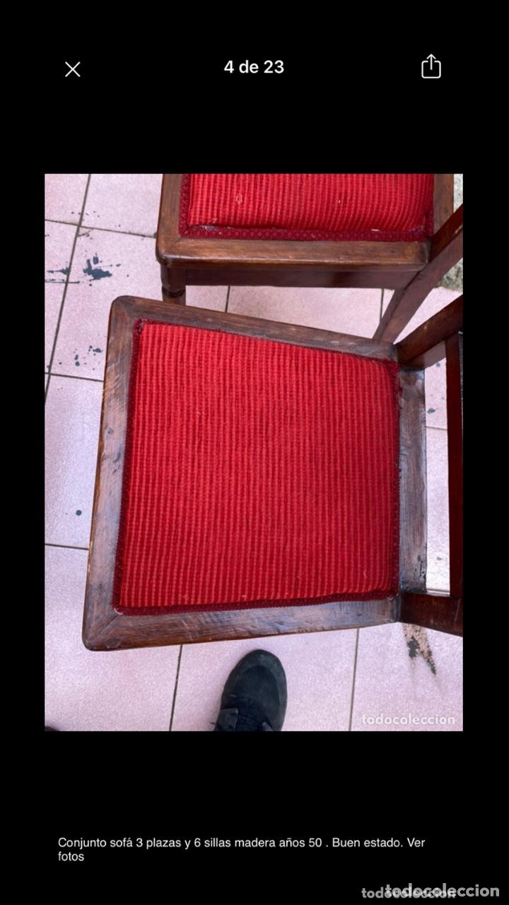 Antigüedades: Conjunto sofá 3 plazas y 6 sillas madera años 50 . Buen estado. Ver fotos - Foto 4 - 286156838