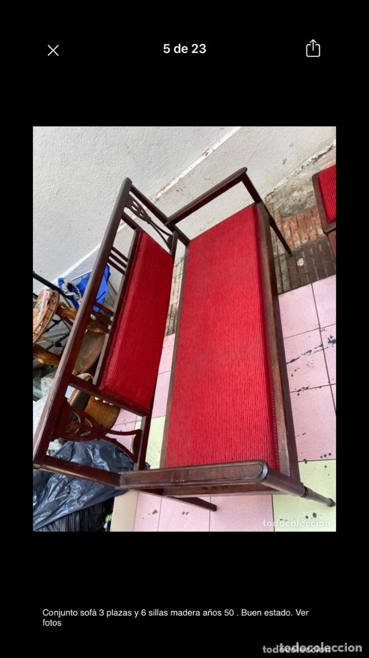 Antigüedades: Conjunto sofá 3 plazas y 6 sillas madera años 50 . Buen estado. Ver fotos - Foto 5 - 286156838