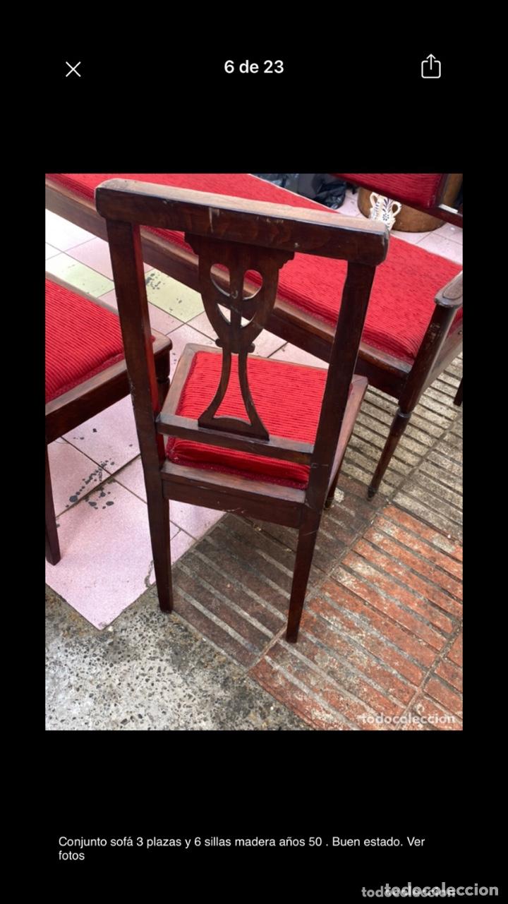 Antigüedades: Conjunto sofá 3 plazas y 6 sillas madera años 50 . Buen estado. Ver fotos - Foto 6 - 286156838