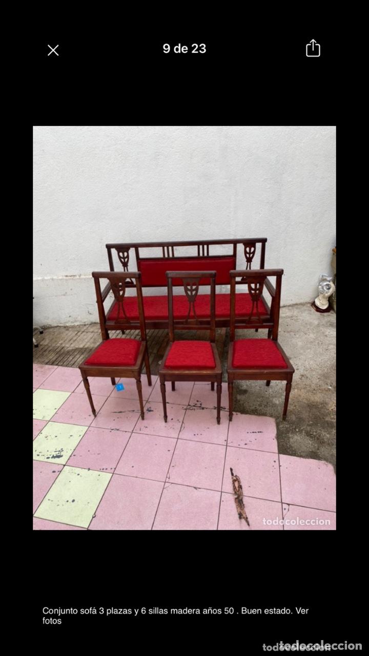 Antigüedades: Conjunto sofá 3 plazas y 6 sillas madera años 50 . Buen estado. Ver fotos - Foto 7 - 286156838