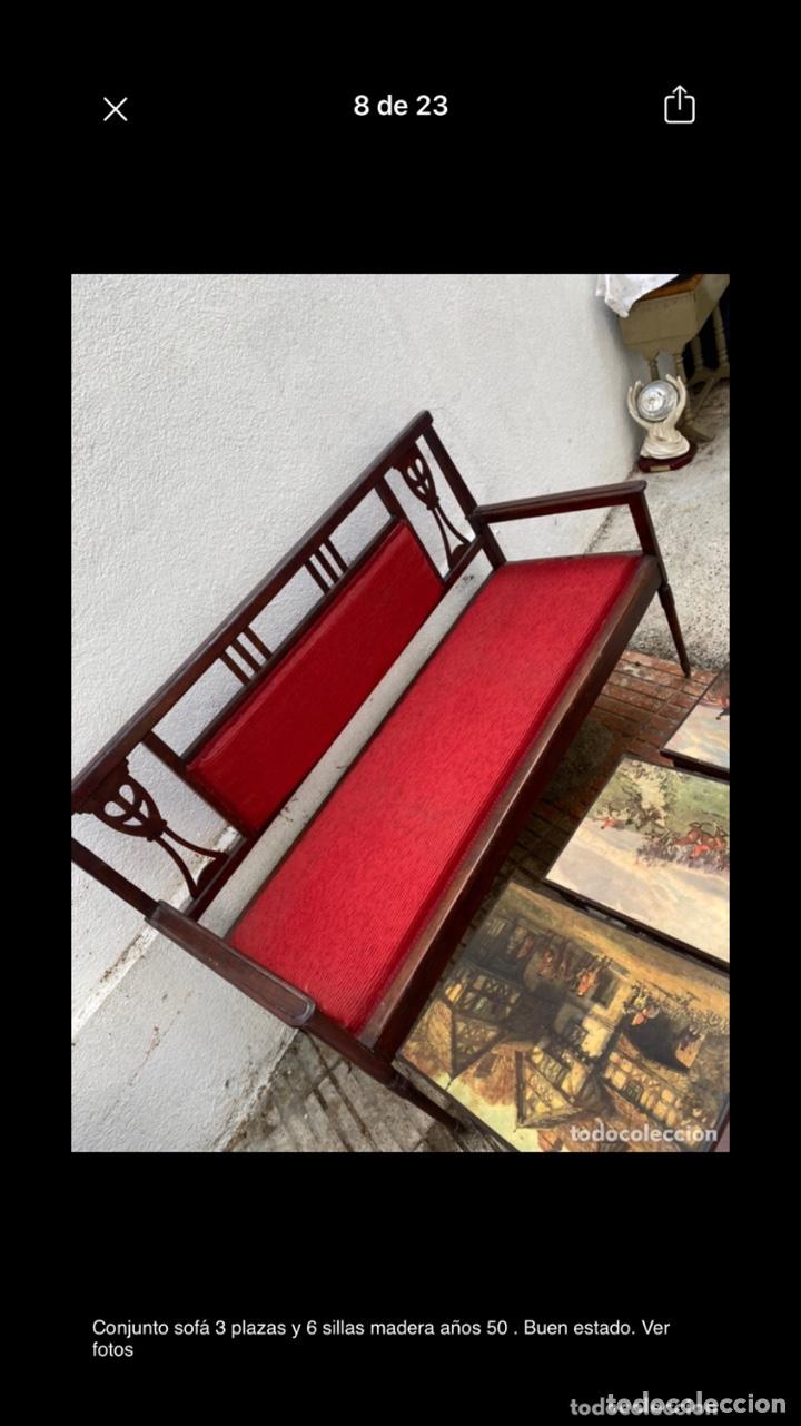 Antigüedades: Conjunto sofá 3 plazas y 6 sillas madera años 50 . Buen estado. Ver fotos - Foto 8 - 286156838