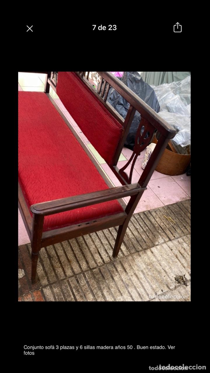 Antigüedades: Conjunto sofá 3 plazas y 6 sillas madera años 50 . Buen estado. Ver fotos - Foto 9 - 286156838