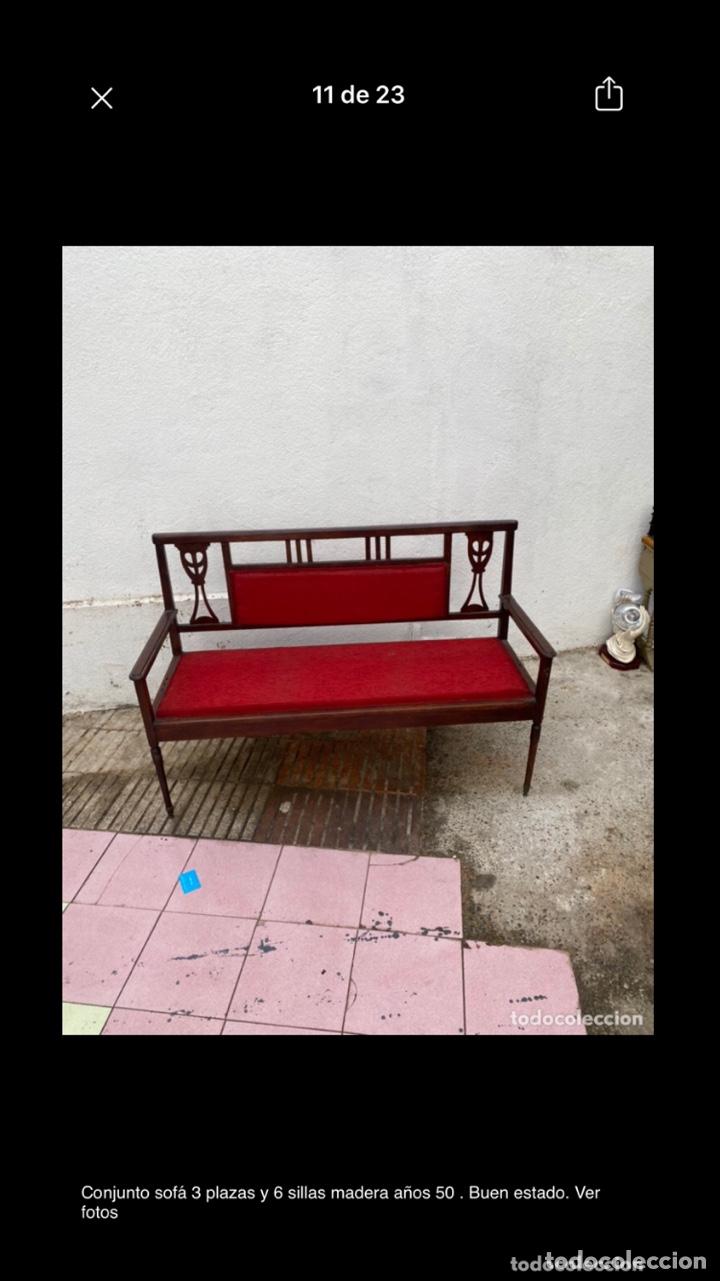 Antigüedades: Conjunto sofá 3 plazas y 6 sillas madera años 50 . Buen estado. Ver fotos - Foto 10 - 286156838