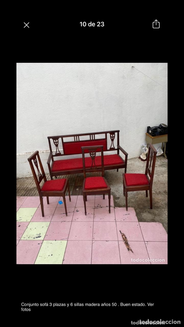 Antigüedades: Conjunto sofá 3 plazas y 6 sillas madera años 50 . Buen estado. Ver fotos - Foto 11 - 286156838