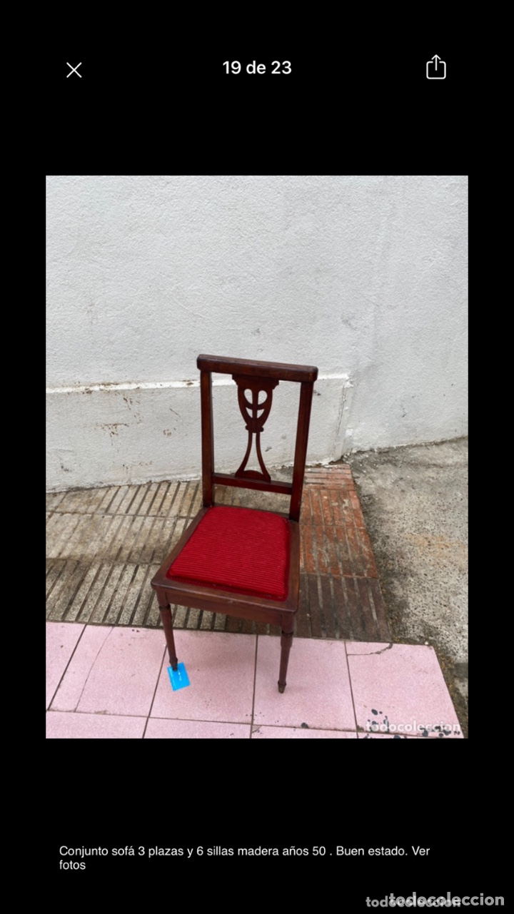 Antigüedades: Conjunto sofá 3 plazas y 6 sillas madera años 50 . Buen estado. Ver fotos - Foto 14 - 286156838
