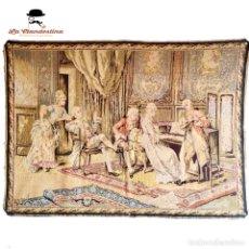 Antigüedades: BONITO TAPIZ DE HILO. ESCENA DE PALACIO. CONCIERTO DE PIANO. 136 X 99 CM.. Lote 286160258