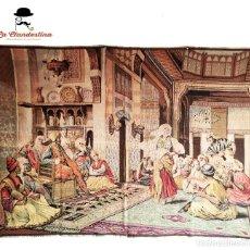Antigüedades: BONITO TAPIZ DE HILO. ESCENA DE PALACIO. MUJER DANZANDO. 173 X 128 CM.. Lote 286160543