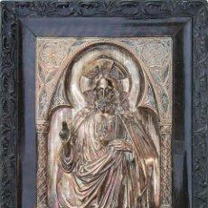Antigüedades: PRECIOSO Y ANTIGUO SAGRADO CORAZON DE JESÚS LABRADO EN COBRE PLATEADO. Lote 286162353