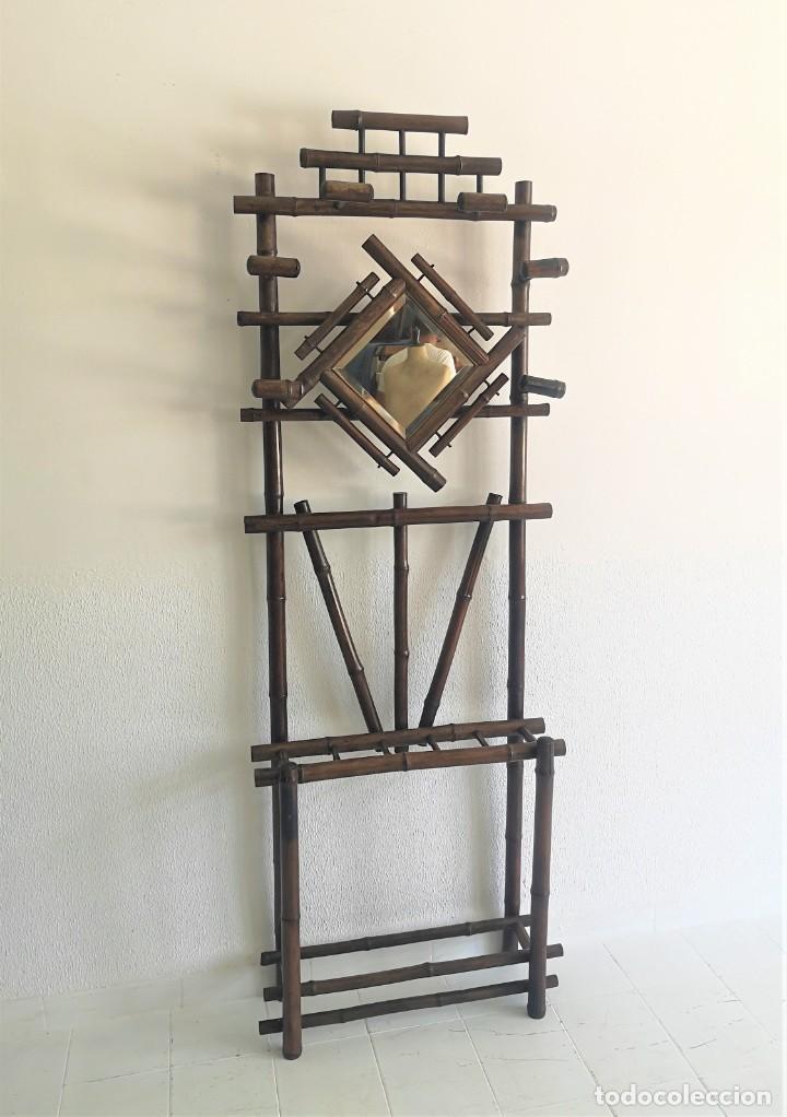 ANTIGUO PERCHERO RECIBIDOR COLONIAL DE ESTILO CHINESCO EN MADERA DE BAMBU FRANCIA FINALES S XIX (Antigüedades - Muebles Antiguos - Mesas Antiguas)