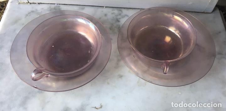 Antigüedades: Conjunto de tazas y platos en cristal soplado,Italia - Foto 2 - 286194058