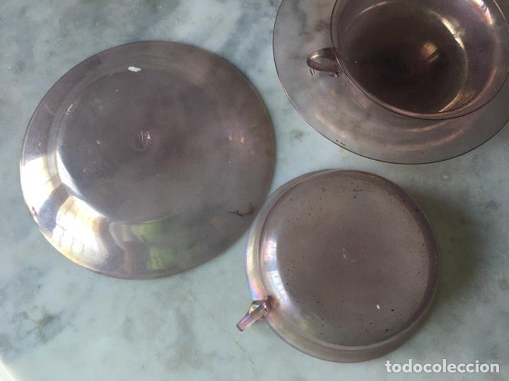 Antigüedades: Conjunto de tazas y platos en cristal soplado,Italia - Foto 3 - 286194058