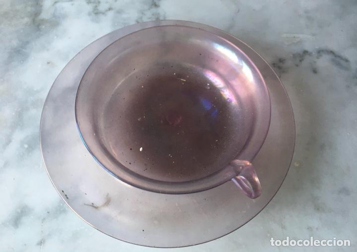 Antigüedades: Conjunto de tazas y platos en cristal soplado,Italia - Foto 5 - 286194058