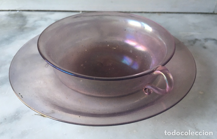 Antigüedades: Conjunto de tazas y platos en cristal soplado,Italia - Foto 6 - 286194058