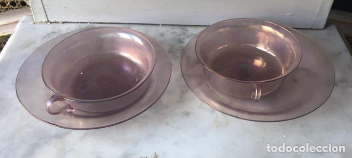 Antigüedades: Conjunto de tazas y platos en cristal soplado,Italia - Foto 8 - 286194058