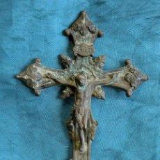 Antigüedades: MUY ANTIGUO CRUCIFIJO - CRUZ DE ALTAR - CRISTO Y CALAVERA - BROCE - CRUZ - PROCESIONAL - RARO. Lote 286198018