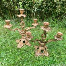 Antiguidades: CANDELABROS DE BRONCE. Lote 286214808