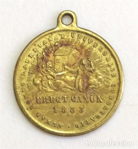 MEDALLA RELIGIOSA DE LA VIRGEN DE LORETO Y CONGREGACIÓN LAURETANA. FECHADA EN 1883 (Antigüedades - Religiosas - Medallas Antiguas)