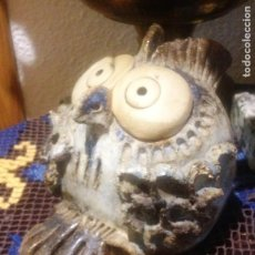Antigüedades: FIGURA BUHO DE CERÁMICA ARTESANIA-. Lote 286345533