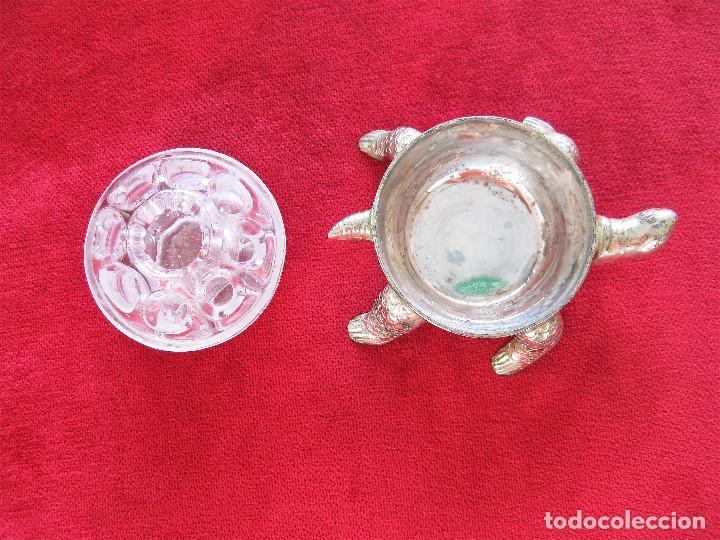 Antigüedades: PORTALAPICES VIOLETERO EN CRISTAL DE ROCA CON SOPORTE DE TORTUGAPLATEADA - MADE IN FRANCE 3 REIMS - Foto 4 - 286398903