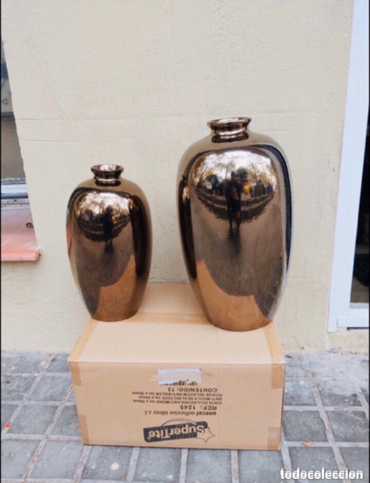 PAREJA DE JARRONES MANISES PINTADOS EN ORO . VER LAS MEDIDAS EN FOTOS (Antigüedades - Porcelanas y Cerámicas - China)