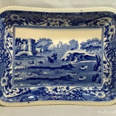 Antigüedades: BANDEJA DE CERÁMICA. AZUL SOBRE BLANCO. COPELAND SPODE. INGLATERRA. MODELO ITALIA. FECHA 1910.. Lote 286422298