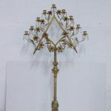 Antigüedades: IMPRESIONANTE Y ENORME CANDELABRO NEOGOTICO EN BRONCE DORADO FF S XIX 157 CM 11 LUCES. Lote 286443233