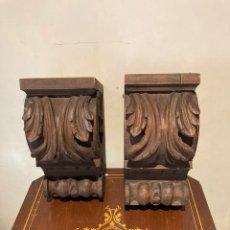 Antigüedades: MAGNIFICA PAREJA DE MENSULAS DE MADERA. Lote 286464488
