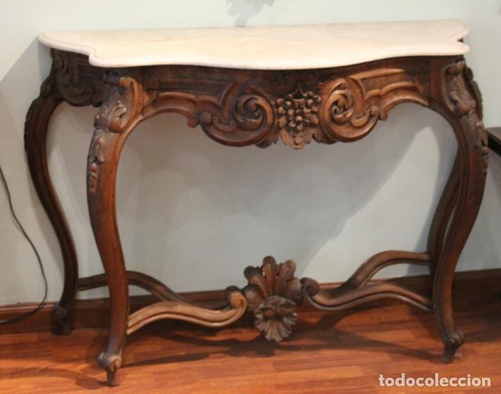 Antigüedades: Consola madera y mármol , años 40, con espejo escayola y hierro - Foto 2 - 286489858