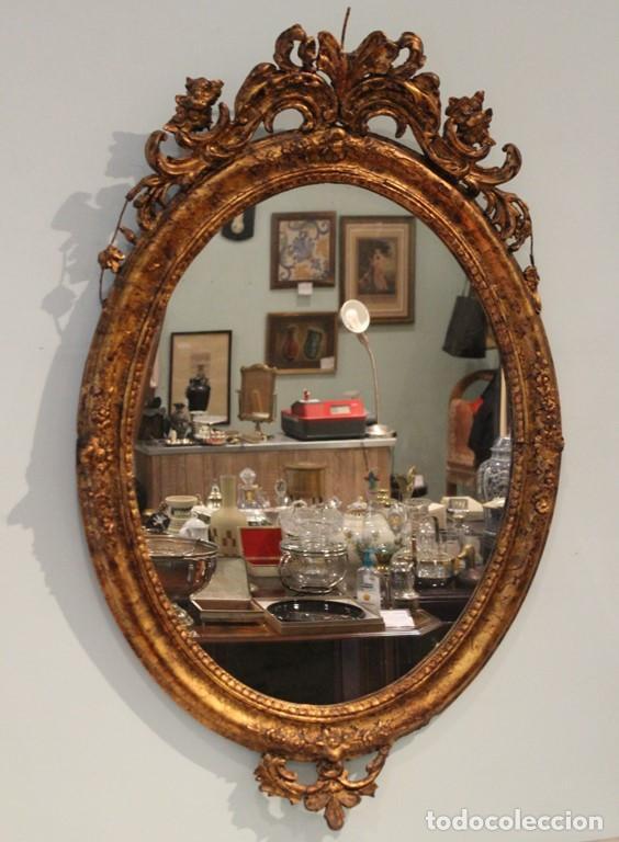 Antigüedades: Consola madera y mármol , años 40, con espejo escayola y hierro - Foto 3 - 286489858