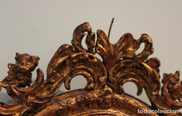 Antigüedades: Consola madera y mármol , años 40, con espejo escayola y hierro - Foto 4 - 286489858