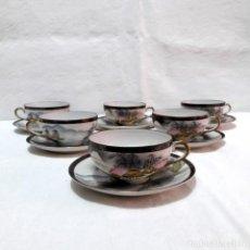 Antigüedades: 6 TAZAS TE CAFÉ PORCELANA CASCARA DE HUEVO-JAPON-TRASLUZ CARA GEISHA-1ª MITAD 1900. Lote 286498783