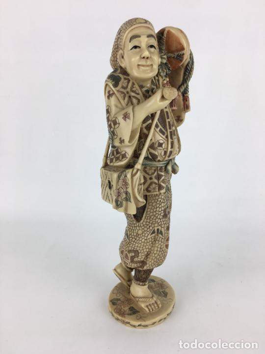 FIGURA ESCULTURA JAPONESA (Antigüedades - Hogar y Decoración - Figuras Antiguas)