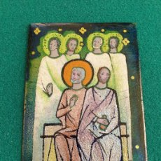Antigüedades: PRECIOSA IMAGEN RELIGIOSA EN PLANCHA DE COBRE CON ESMALTES, AÑOS 70. Lote 286527233