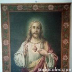 Antigüedades: ANTIGUO TAPIZ DE GRANDES DIMENSIONES RELIGIOSO CON LA IMAGEN DE JESUCRISTO 122CMX93.5CM UNA BELLEZA. Lote 286551933