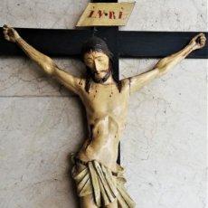 Antigüedades: IMPRESIONANTE CRISTO TALLA DE MADERA POLICROMADA S.XVIII - 50CM. Lote 286638758