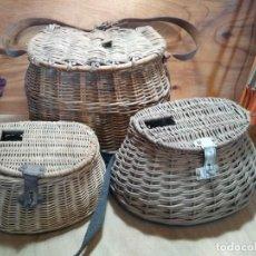 Antigüedades: 3 CESTAS DE PESCAR DE MIMBRE. Lote 286654533